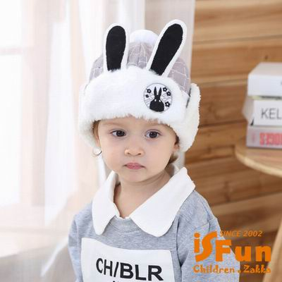 iSFun 兔子隊長 刷毛保暖固定護耳帽 灰