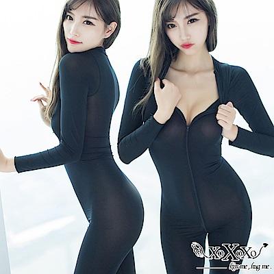 情趣睡衣 透視機密雙開拉鏈連身衣 挑逗黑 XOXOXO