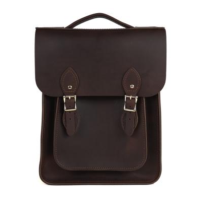 The Leather Satchel 英國原裝手工牛皮經典後揹包 手提包 原色深咖啡