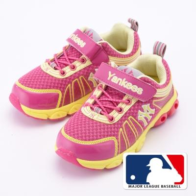 MLB大聯盟洋基2015新品。避震氣墊運動童鞋款桃