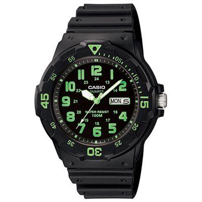 CASIO 潛水風DIVER LOOK指針錶(MRW-200H-3B)-黑/綠刻度/47.9mm