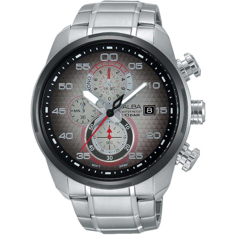 ALBA Sign A 奔馳時刻三眼計時腕錶(AM3267X1)-漸層黑/45mm