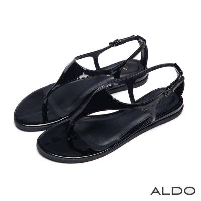 ALDO-春回大地T字漆皮金屬釦帶夾心涼鞋-尊爵黑