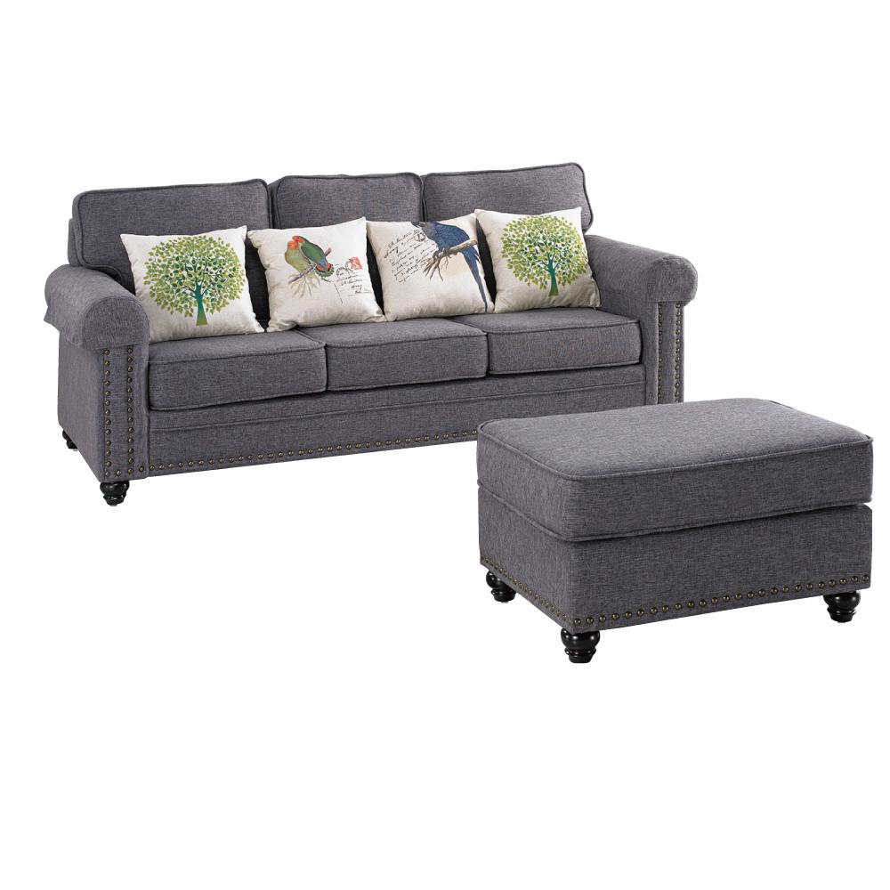 品家居 歐朵灰亞麻布L型沙發(三人+凳)-210x173x96-免組