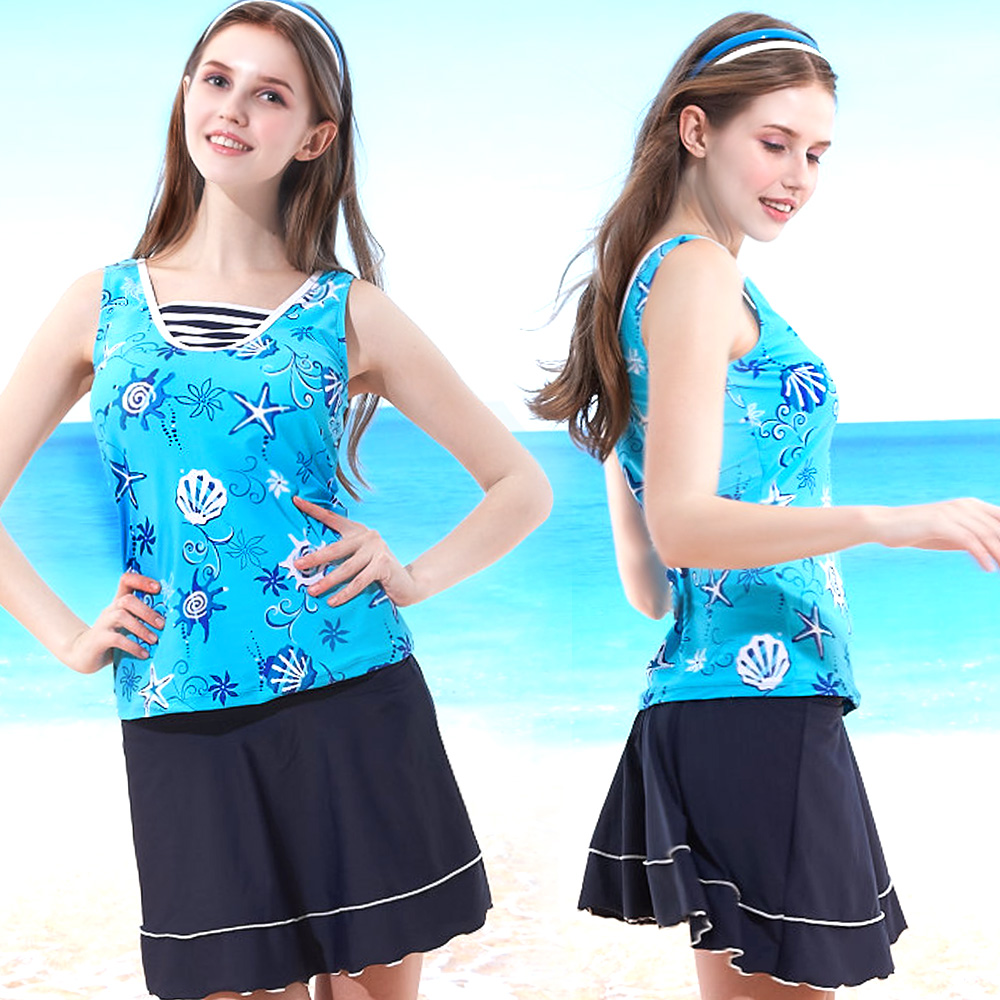 三件式泳裝 假兩件V領短褲短裙 (T-360海洋風印花) TiNyHouSe