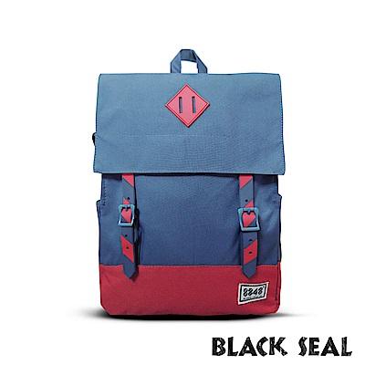 BLACK SEAL 聯名8848系列-撞色拼接雙皮帶釦Lash Tab後背包-撞色藍