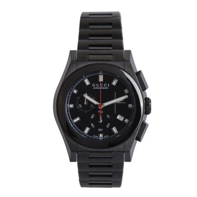GUCCI G 頂尖時尚三眼計時腕錶(黑)