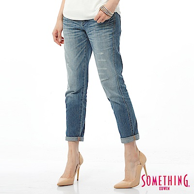 SOMETHING VB小垮褲直筒牛仔褲-女-拔淺藍