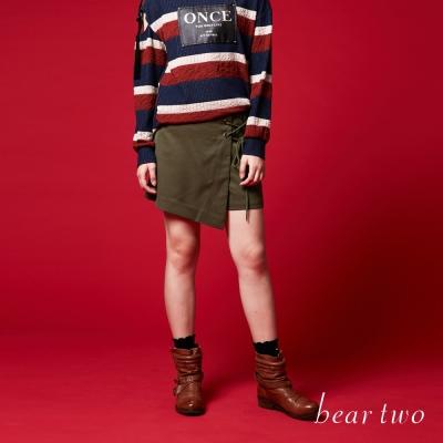 beartwo 斜裙片綁帶腰封式褲裙(二色)-動態show