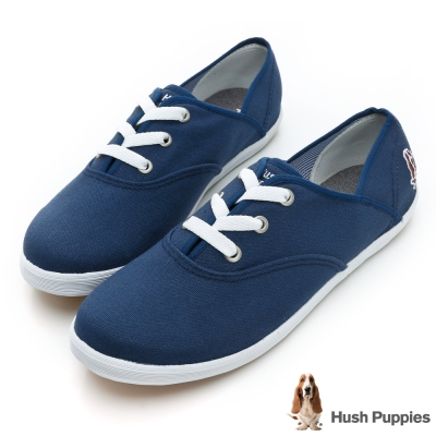 Hush Puppies 熱銷基本款★咖啡紗帆布鞋-深藍