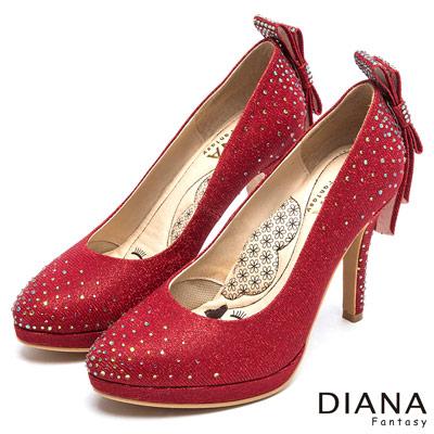 DIANA 漫步雲端LADY系列--水鑽蝴蝶結亮面星鑽跟鞋-紅
