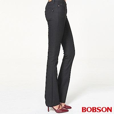 BOBSON 女款超低腰伸縮黑色小喇叭褲