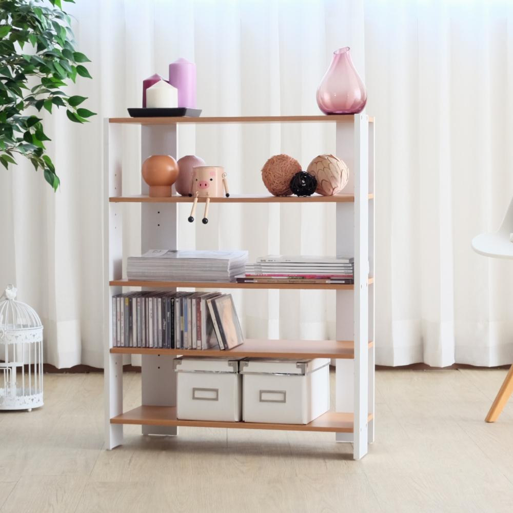 EASY HOME-加寬四層美背開放式收納架DIY(原木色+白色) 62.8x25.4x80cm