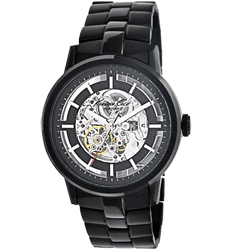 Kenneth Cole黑鋼質感時尚鏤空機械錶-IP黑/46mm