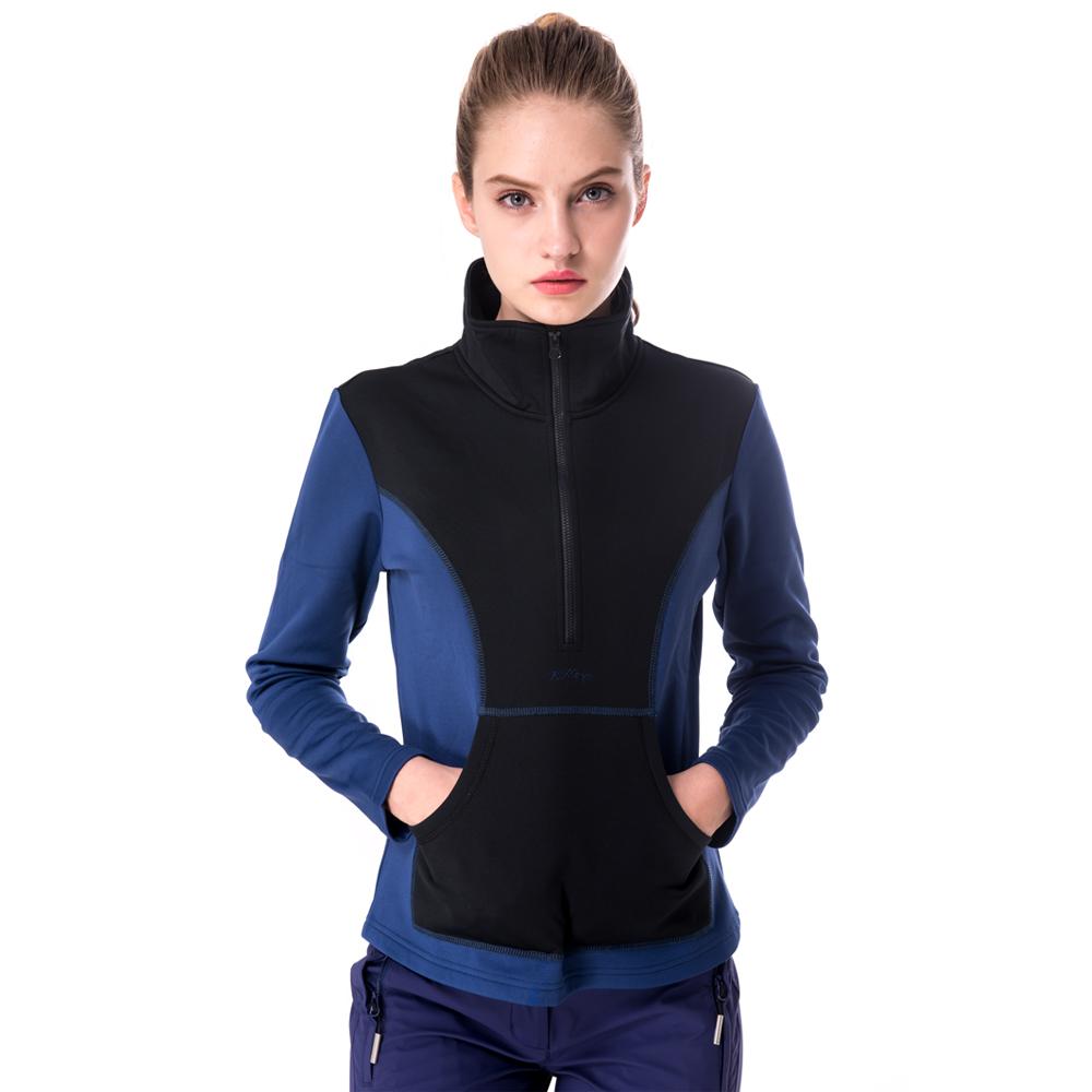 【hilltop山頂鳥】女款半開襟拉鍊保暖排汗上衣H51FG0藍