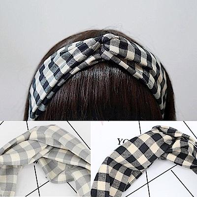 梨花HaNA 韓國無印自然黑米格子髮帶/髮箍