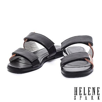 拖鞋 HELENE SPARK 個性撞色雙帶釦牛皮平底拖鞋-黑