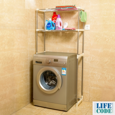 LIFECODE 聰明媽咪-可伸縮洗衣機置物架/馬桶架-附2個毛巾掛勾(送-廚房防污貼紙)