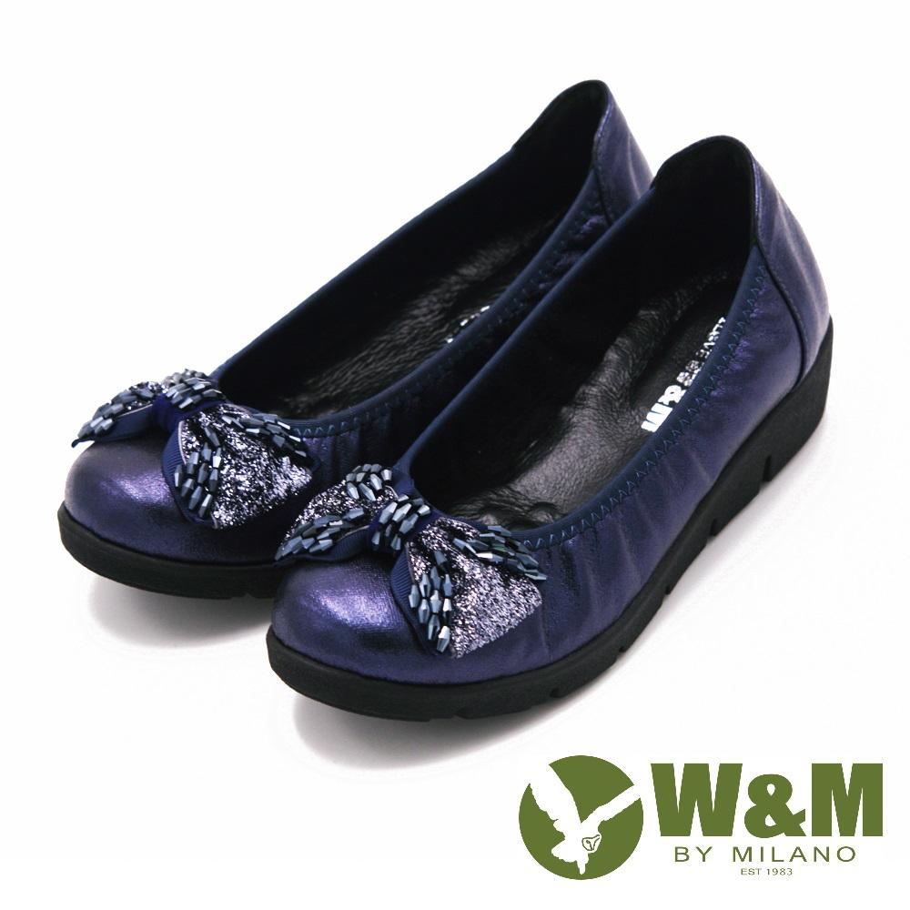 W&M 珠飾蝴蝶結厚底坡跟 女鞋-藍(另有黑)