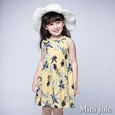 Mini Jule 童裝-洋裝 鳳梨葉子後釦背心洋裝(黃)