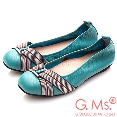 G.Ms. MIT系列-牛皮方頭鬆緊帶鑽飾娃娃鞋-湖水綠