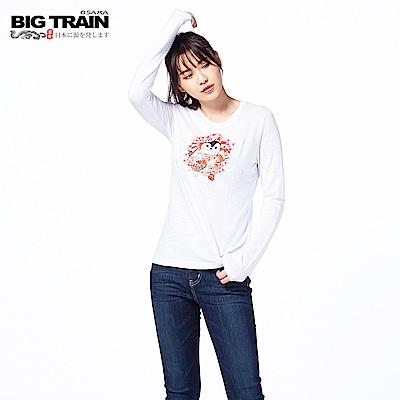 BIG TRAIN 福貓達摩長袖-女-白