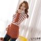 LIYO理優針織毛衣高領條紋針織毛衣(咖啡,