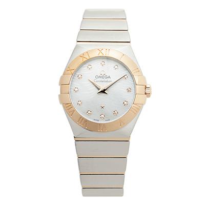 OMEGA 歐米茄星系列 短波紋玫瑰金珍珠貝母腕錶-27mm