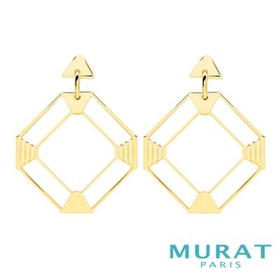 MURAT Paris米哈巴黎 摩登鏤空菱形垂吊耳環(金色款)