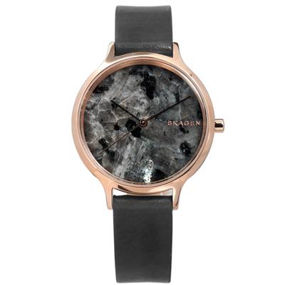 SKAGEN 北歐天然大理石防水真皮手錶-銀灰x玫瑰金框/34mm