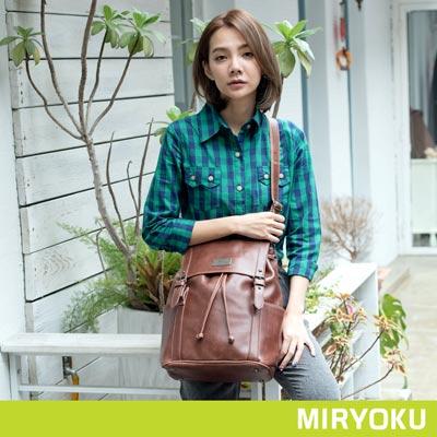 MIRYOKU-經典復古皮革系列-率性雙飾帶束繩兩