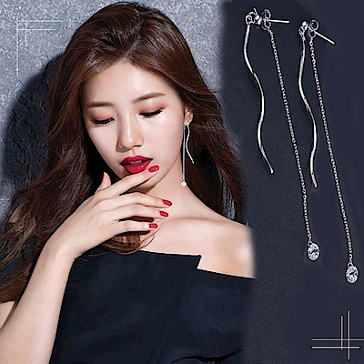 梨花HaNA 韓國925銀曲線皓鑽長耳線耳環