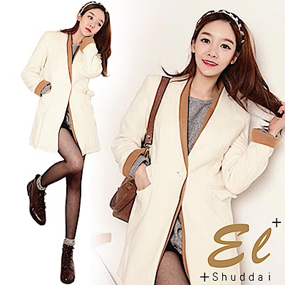 正韓 雙層腰身修飾大衣外套-(白色)El Shuddai