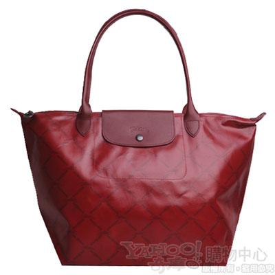 Longchamp 60週年復刻版LM系列長帶斜格紋水餃包(大/深酒紅色)