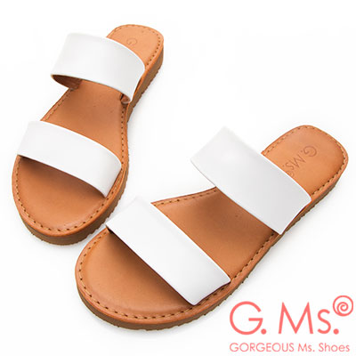 G.Ms. MIT系列-牛皮雙一字鋸齒底平底涼拖鞋-白色