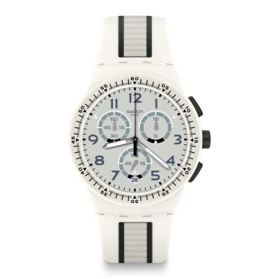 Swatch 原創系列 ESCALATOR 白色酷勁手錶