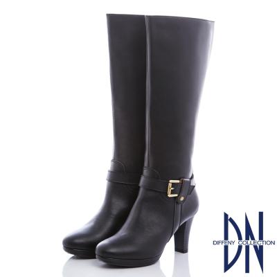 DN 完美質感 質感牛皮T帶皮帶造型長靴-黑