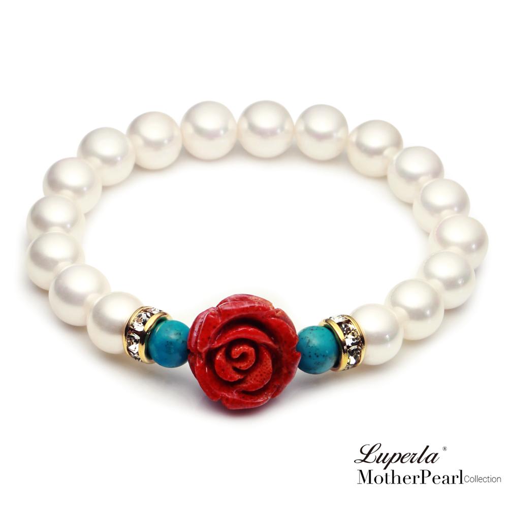 大東山珠寶 南洋貝寶珠玫瑰珊瑚金燦手鍊 浪漫土耳其