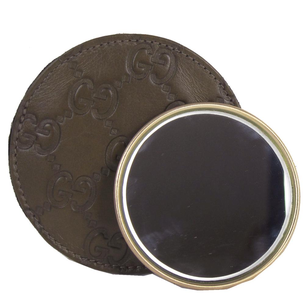 GUCCI 經典緹花皮革壓紋化妝鏡(小/深咖)