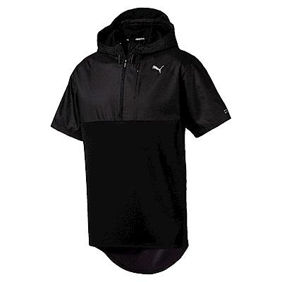 PUMA-男性慢跑系列連帽短袖T恤-黑色-歐規