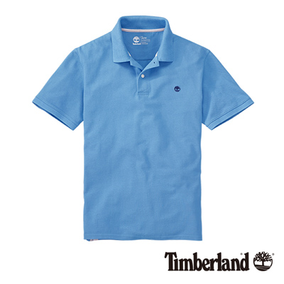 Timberland-男款天藍色素面刺繡短袖POL