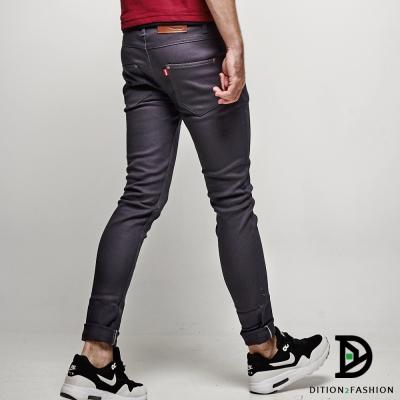 DITION 日韓SKINNY窄版紅標釘釦卡其休閒褲 合身