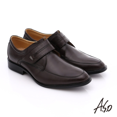 A.S.O 挺力氣墊 小牛皮魔鬼氈奈米氣墊皮鞋 咖啡