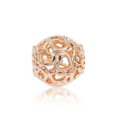 Pandora 潘朵拉 玫瑰金多心鏤空圓形 純銀墜飾 串珠