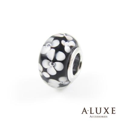 Charming系列 925純銀珠飾- 黑白印花 Black&White Blossom