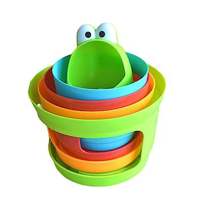 旋轉彩虹嬰兒疊疊樂 青蛙造型滾塔疊疊杯