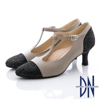 DN-復刻時尚-真皮金蔥拼接瑪莉珍款跟鞋-黑