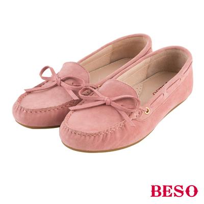 BESO繽紛奇幻 經典都會蝴蝶結全真皮莫卡辛鞋~粉