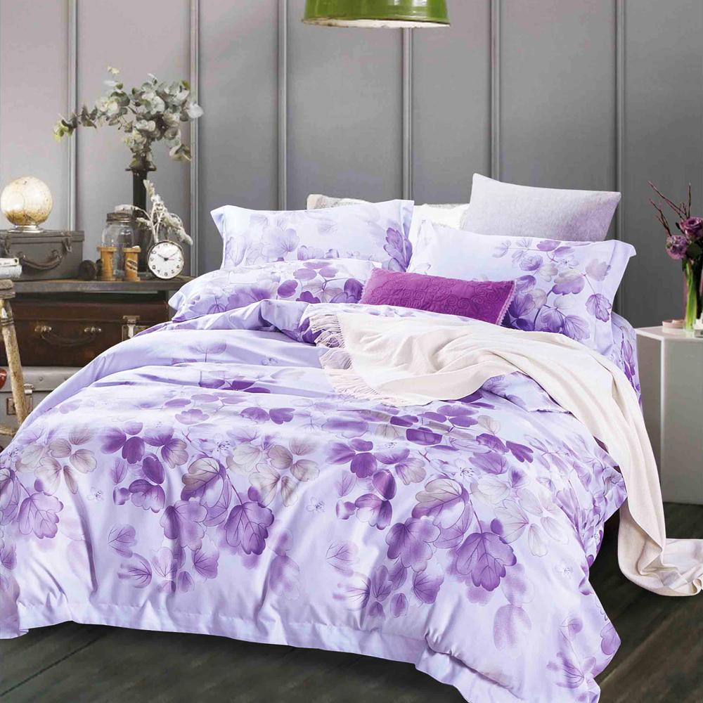 Ania Casa 陌上花開-紫 原廠天絲 採用3M吸溼排汗專利-單人鋪棉兩用被床包組