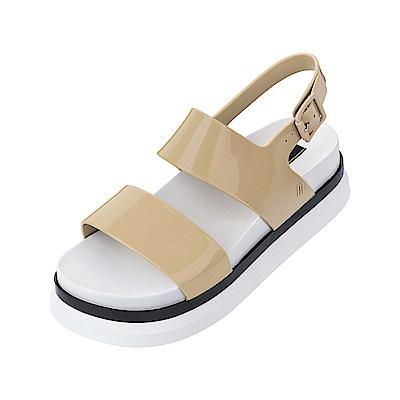 Melissa 運動風撞色厚底涼鞋-卡其/白